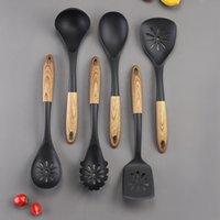 Utensilios de cocina 6 piezas Conjunto Utensilios de cocina Cuchara de alta calidad Shovel Shovel Manija de grano de madera Herramienta de cocina Cocinero Spotula Espátula