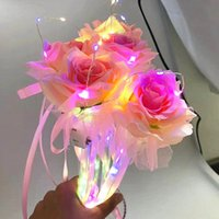 Creative Valentines Day Gifts Present Lighted Birthday Gift Glowing Rose Flower Stick Colorful Artificial Flowers VTKY2323