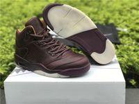 Premium Bordeaux Jumpman 5 S Erkek Basketbol Ayakkabı Yüksek Malzeme Off Union 5 Kırmızı Şarap Tasarımcısı Sneakers Kutusu Ile Gel 36-48