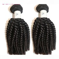 Glamoroso 2 unids Brasileño Virgin Human Hair Weages Peruano Indio Indio Malasia Espiral Curly Hair Extensions África Estilo Popular Remy Pelo Tronco