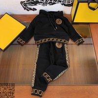 Automne FF marque set enfant mode noir Vêtements de bébé fd 2 pièce enfants en coton costume garçon hoodies enfants costume taille sport 110-160 Designers Vêtements enfants