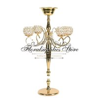 Wedding Crystal Candelabra Metal Candle Holder With Flower Bowl Tall Candlestick Decoration Table Centerpiece Stand Vase Party