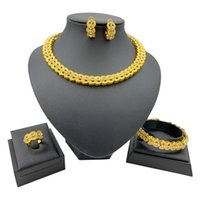 Earrings & Necklace African Bridal Jewelry Crystal Fashion Sets Bracelet Ring For Women Wedding Party Classic Set