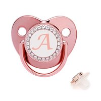 Pacifiers# 6-12Months Baby Pacifier 26 Name Initial Letter Nipple Clamps For Infant Rose Gold Luxury Dummy Holders Shower Toy