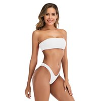 Beyaz Bandeau Bikini 2021 Kadınlar Katı Mayo Seksi Swim Suit Push Up Mayo Top 2 Parça Set Mayo Tankini 6 Renkler