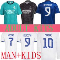 ريال مدريد لكرة القدم الفانيلة 21 22 قمصان كرة القدم Alaba Hazard Benzema Comavinga Madric Kroos Vini JR Casemiro Third Camiseta Away Kids 2021 Fans Player