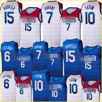 Nationalmannschaft Basketball Jersey Devin 15 Booker Kevin 7 Durant Damian 6 Lillard Jayson 10 Tatum Trikots Weiße blaue Herren