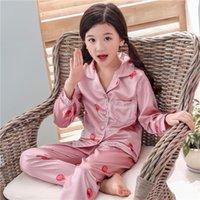 Meninas pijamas 2020 outono inverno manga comprida crianças sleepwear conjunto de seda pijama definir meninos pijamas conjuntos para crianças nightwear set 2245 v2