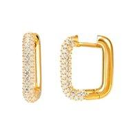 Retro colorido geométrico de las mujeres con incrustaciones con incrustaciones de cristal cuadrado anillo de diamante pendientes perforadas joyas delgadas