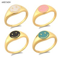 ANDYWEN 925 Sterling Silver Gold Smile Enamel Thick Ring Size Luxury Spring Fine Jewelry White Black Pink Smiley Women Gift 210423