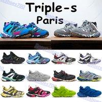 Triple S 3.0 Platform Chaussures Casual Chaussures Mode Runner Bleu Grey Blanc Blanc Rose Orange Marine Jaune Hommes Femmes Femmes Baskets en plein air US 6-12