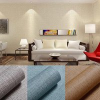 Wallpapers PVC Cement Gray Linen Pattern Waterproof Wallpaper Self-adhesive Solid Color Drmitory Bedroom Wall Stickers Cabinets Furniture P