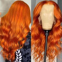 Ginger Orange Color 13x4 Lace Front Wigs Body Wave 360 Frontal Wigss Pre Plucked Brazilian Wavy Human Hair Wig Glueless 5x5Lace closure full laceWig preplucked
