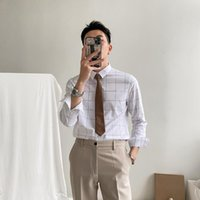 Men's Casual Shirts Men 2021 Spring Autumn Plaid Male Business Long-sleeved Formal Wear Slim Fit Blouses O269