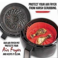 Werkzeuge Zubehör Air Fryer Topf Silikon Korb Wärmebeständige Antihaftpfanne 2-in-1 Haushaltsbacken mit abnehmbarer Basis