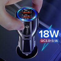 18W qc3.0 3.1a المزدوج USB شاحن سيارة الصمام تهمة الهاتف السريع لفون 12 11 برو x xr xs ماكس 6 7 8 زائد ipad huawei samsung