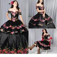 2021 Black Quinceanera Abiti Charro Gonna rimovibile floreale ricamato dalla spalla dolce 16 abito tema messicano Plus Size Gothic