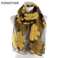 Foxmother Women Foulard Femme Born Flowers Edge Shawls taglio fiore involucro e scialle musulmano hijab scialle lavori