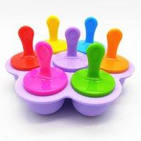 Stampi a popsicle multifunzione Silicone Silicone 7-Hole Popsicl colorato fai da te Gelato Vassoio Creativo Torta creativa Stampo viola dedicato