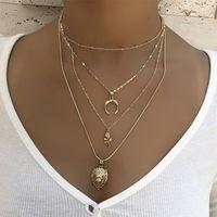 Pcs Set Women Necklaces Set Bohemian Moon Rose Flower Lion Pendant Clavicle Chain Gold Necklace Fashion Birthday Party Jewelry