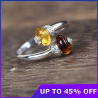 Cluster Rings Nature Style Yellow Stone 925 Sterling Silver Open Ring Luxury Women Female Fine Jewelry Gifts