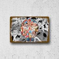 Dessin animé Luffy intégré décoration métal classique bar décoration murale peinture intégrée café maison signe 30x20cm q0723