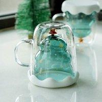 Festa Favor 300ml Dupla Camadas Anti Scald Vidro de Natal Árvore Starry Sky Caneca De Café de Isolamento Térmico Pequeno-almoço Leite De Leite Presente Infantil