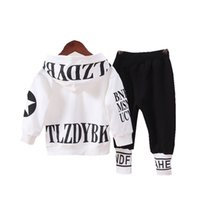 Spring Autumn Baby Boys Girls Cotton Clothes Children Letter Hooded Pants 2Pcs sets Infant Kid Fashion Toddler Casual Tracksuits 210914