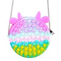 New Push Bubble Fidget Toy Messenger Bags Party Favor Cartoon Handbag Silicone Stress Reliever Sensory Toy ZZA3348