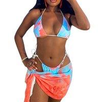 Maillots de bain pour femmes ILLGLKSND Femmes TROIS PIÈCES Vêtements de baignade Ensemble, Types de bikini à motif imprimé à la crête, Short et Blouse de plage