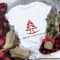 Women's T-Shirt Year Merry Christmas Fashion Shirt All Seasons Suitable Women Girls Cartoon Casual Cotton Short Sleeve Tops Tee