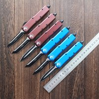 Micro-tecnologia dupla ação auto faca mini utx 85 facas táticas aviação alumínio alça D2 lâmina EDC ferramentas UT