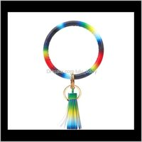 Key Rings Jewelry Drop Delivery 2021 Colorful Monogrammed Keychain Men Women Fashion Keyrings Personalized Enamel Disc Big O Wristlet Bracele