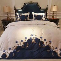 Blue White Luxury Egyptian Cotton Embroidery Chinese Bedding Queen King size Silky Soft Duvet cover Bedsheet set Pillowcase
