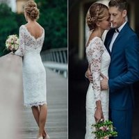 2022 Lace Mermaid Wedding Dresses Knee Length Bridal Gown 3 4 Long Sleeves Scalloped Neck Country Vestidos de novia Custom Made Plus Size Covered Buttons Back