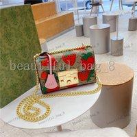 뜨거운 판매 딸기 패턴 꽃 패션 고품질 여성 어깨 가방 변경 여성 지갑 클래식 문자 열쇠 고리 크로스 바디 작은 가방