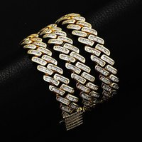 """12MM Mens Miami Cuban Link Chain Baguette Iced Sim Diamond 14K White Gold Plated Cubic Zirconia Jewelry 18"""" Choker -22"""""""