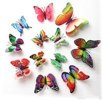 Wall Stickers 3D Butterfly Three-dimensional Simulation Butterflies Refrigerator Fridge Magnets Sticker Decoration 12pcs bag ZC200
