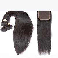 Capelli umani diritti brasiliani 3 fasci con 4 * 4 chiusura del pizzo colore naturale non trasformato 1b # colore per capelli salone alto rapporto capelli più lunghi