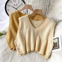 Women's Knits & Tees Korean Women Short Knitted Sweater Sleeveless Female Crop Tops Loose Vest Ladies V-Neck Pullover Tank Girls Waistcoat