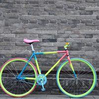 Vélo à engrenages fixes 26 pouces Vélo de route Simple Vitesse Coloré Vintage Cadre homme et femme Vélos étudiant