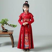 Çocuklar Nakış Hanfu Antik Öğrenci Kostüm Boygirl Parti Fotoğrafçılık Elbise Elbise Bebek Geleneksel Çin Yeni Yıl Giysileri