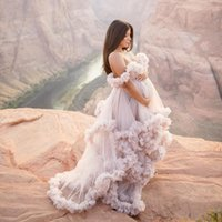 Autumn Bridal Ruffled Evening Dresses Robes Women Tulle Maternity Dressing Gowns Long Sheer Party Dress Photo Shoot Custom Made