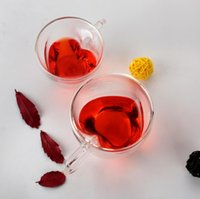 Coração amor em forma de parede dupla caneca resistente kungfu chá leite limão suco de limão bebeware amante copo de café presente