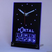 Wall Clocks Tnc0207 Portal Game Table Desk 3D LED Clock