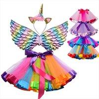 Princesse fille licorne femmes colorées jupes jupes fluffy tutu headwear mignon arc-en-ciel bébé pettiskirt petticat