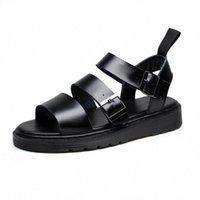 Doc Leather Sandals Women Summer Soft Martins Shoes Buckle Strap Ladies Sandalias Slippers Plus Size Women Casual Roman Sandals Sandel M acy