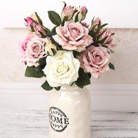 Belle grande branche de rose fleurs de soie artificielle maison décoration de mariage rétro automne grand roses blancs faux décor de couronnes décoratives