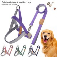 Dog Collars & Leashes Pet Chest Strap Twill Texture Adjustable Safe Harness Traction Rope Set For Traveling