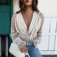 Women Sexy See Through Transparent Mesh Deep V-Neck Long Sleeve Sheer Blouse Shirt Ladies High Street Style Women's Blouses & Shirts